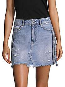 Free People Embellished Denim Skirt BLUE