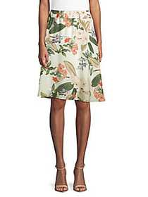 Philosophy Floral Flared Skirt IVORY GREEN