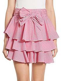 Scripted Gingham Tiered Ruffled Mini Skirt PINK
