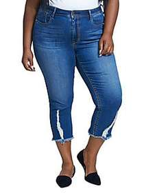 Seven7 Plus Distressed Frayed Cropped Jeans ALYX