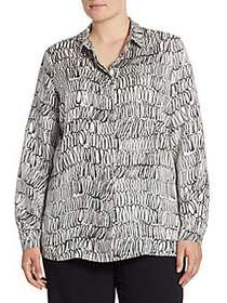 Max Mara Plus Bantu Scribble-Print Blouse WHITE