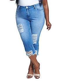 Seven7 Plus Distressed High-Rise Cropped Jeans ANT