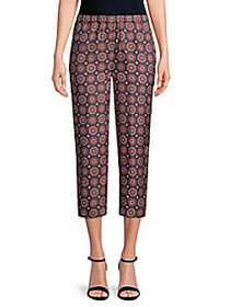 Burberry Printed Silk Cropped Pants NAVY