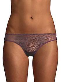 DKNY Stretch Lace Thong AUBERGINE