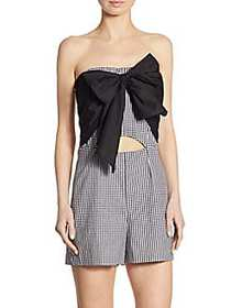 Scripted Gingham Bow Cutout Romper BLACK WHITE
