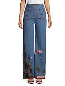 Valentino Graphic Wide-Leg Jeans DENIM