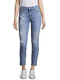 7 For All Mankind Painted Floral Jeans RADIANT WHI