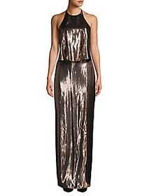 Halston Heritage Metallic Backless Halter Gown ROS