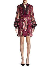 Anna Sui Printed A-Line Dress PINK RED