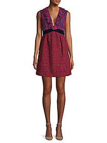Anna Sui Embroidered Floral A-Line Dress PINK RED
