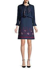 Anna Sui Embroidered A-Line Dress NAVY