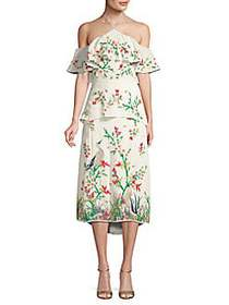 Alice + Olivia Golda Floral Cold Shoulder Midi Dre