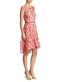 Marchesa Embroidered Fit-And-Flare Dress CORAL