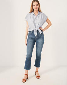 High Rise Ankle Flare Jeans, MEDIUM WASH