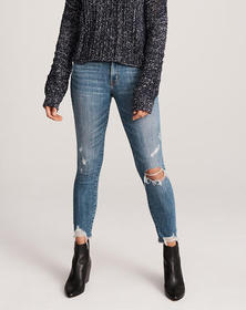 Low Rise Ankle Jeans, Ripped Medium Light Wash