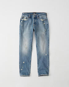 Low Rise Boyfriend Jeans, RIPPED LIGHT MEDIUM WASH