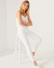 High Rise Ankle Jeans, WHITE
