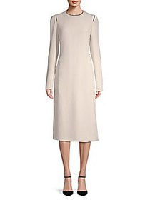 Lanvin Long-Sleeve Midi Dress ECRU