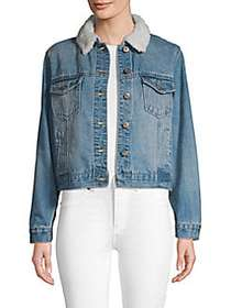 C&C California Faux Fur-Trimmed Denim Jacket REILL