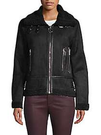 Philosophy Faux Fur Moto Jacket BLACK
