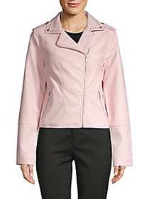 C&C California Faux-Leather Moto Jacket PINK