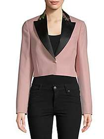 Lanvin Embroidered Collar Cropped Jacket ROSE CLAI