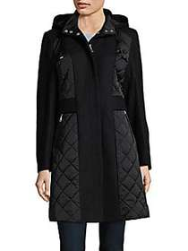 T Tahari Kylie Mixed Media Coat BLACK