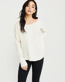 Thermal Crewneck Top, OFF WHITE