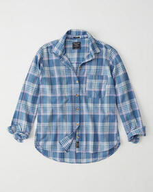 Boyfriend Shirt, NAVY BLUE PLAID