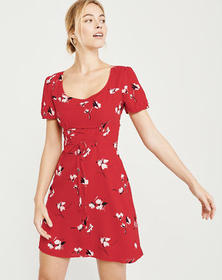 Short-Sleeve Lace-Up Dress, RED FLORAL