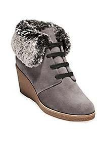 Cole Haan Grand OS Coralie Faux Fur Trimmed Wedge