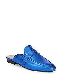 RENVY Metallic Penny Leather Mules BLUE