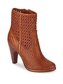 Frye Celeste Woven Leather Booties WHISKEY