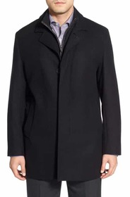 Cole Haan Wool Blend Topcoat with Inset Knit Bib C