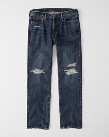 Ripped Straight Jeans, RIPPED DARK WASH