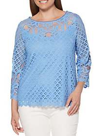 Rafaella Lace Three-Quarter Sleeve Top PROVENCE