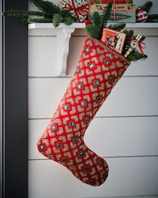 Classic Christmas Velvet Stocking with Jewels