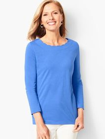 Talbots Pima Cotton Scallop-Edge Tee