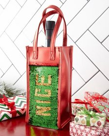 Bari Lynn Naughty Nice Sequin Wine Bag