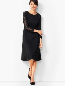 Talbots Lace Sleeve Ponte Fit & Flare Dress