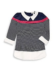 Monteau Girl's Striped Point Collar Top NAVY WHITE