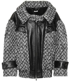 Miu Miu Oversized tweed and leather jacket