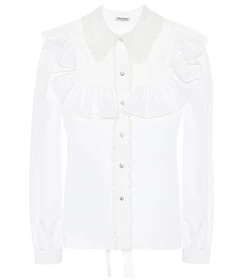 Miu Miu Crystal-embellished cotton blouse