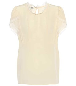 Miu Miu Silk lace trim top