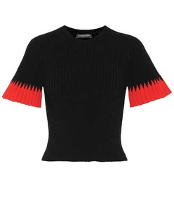 Alexander McQueen Ribbed bell-sleeve sweater