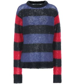 Rokh Striped mohair-blend sweater