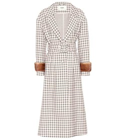 Fendi Fur-trimmed plaid wool coat
