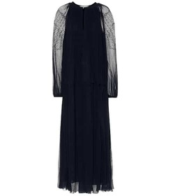 Chloé Lace-trimmed silk maxi dress