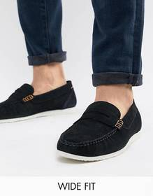 Silver Street Wide Fit Loafers In Navy Suede