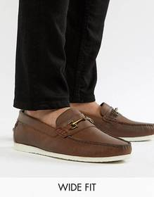 Silver Street Wide Fit Bar Loafers In Brown Leathe